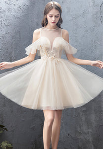 Champagne tulle lace short prom dress party dress