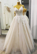 Champagne tulle lace prom dress evening dress