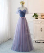 Simple blue tulle long prom dress evening dress