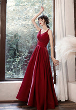 Burgundy v neck satin  prom dress evening dress