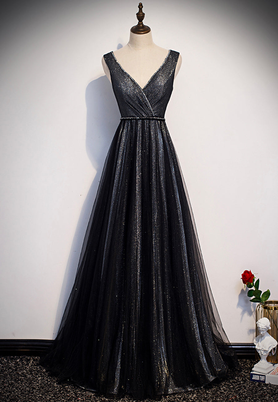 Shiny black v neck prom dress black evening dress