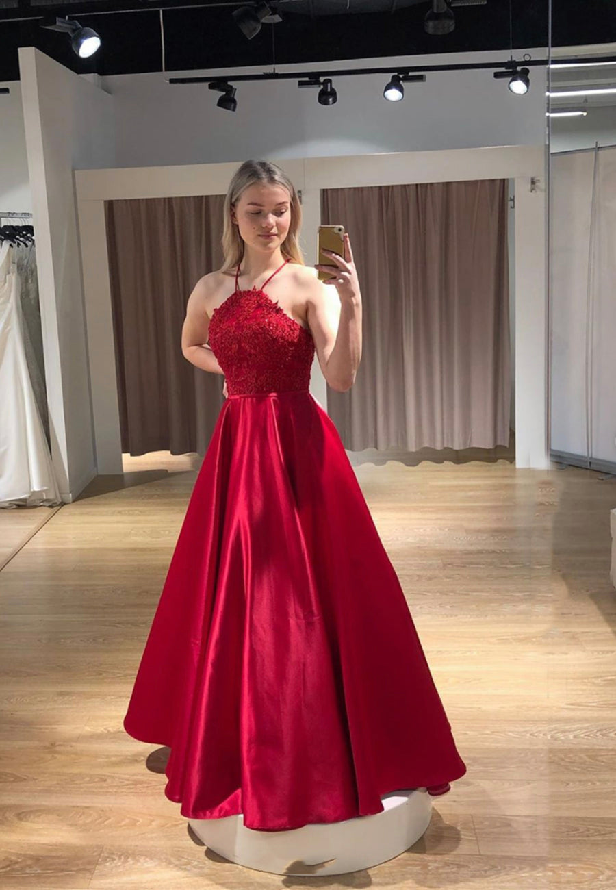 Red satin lace long prom dress evening dress
