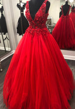 Red v neck tulle lace long prom dress formal dress