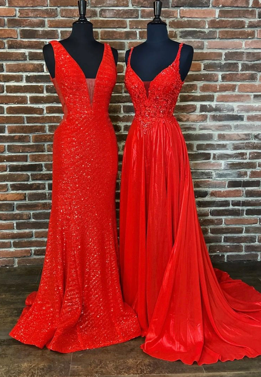 Red long prom dress red sequins evening dress