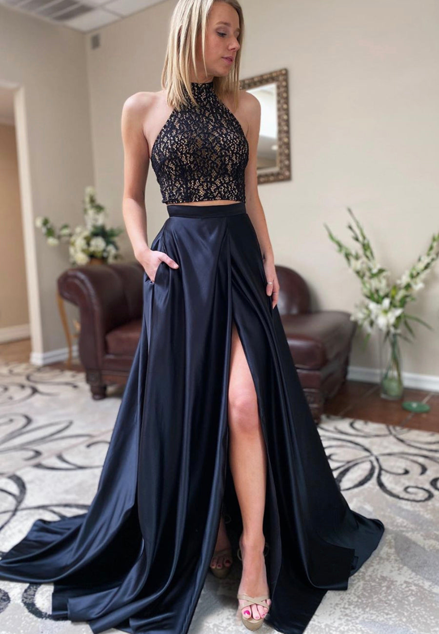 Black long prom dress two pieces evening dress