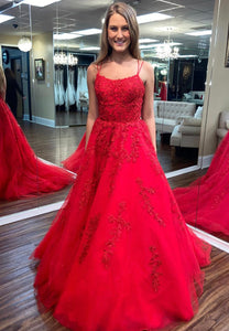 Red tulle lace long prom dress formal dress
