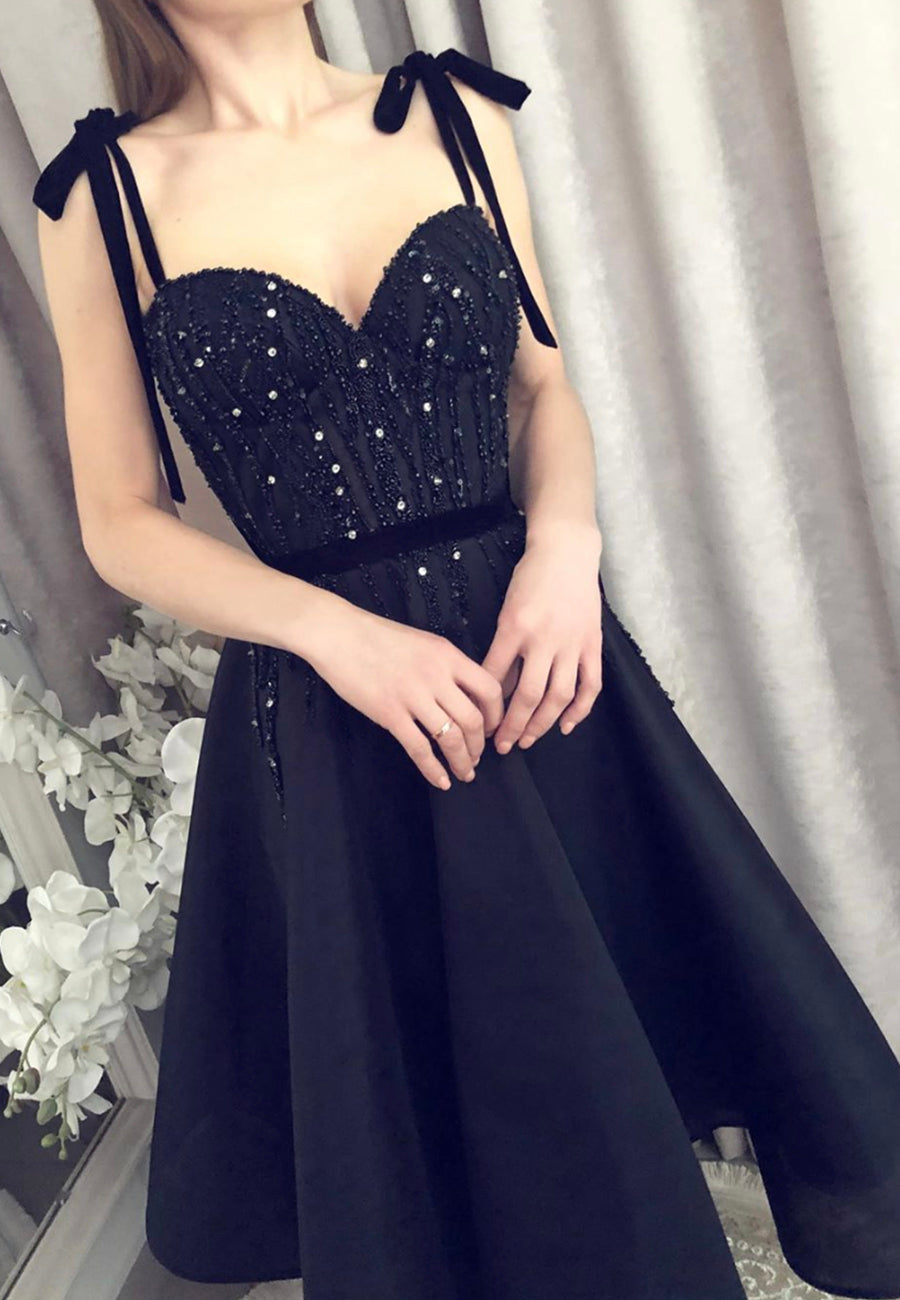 Black satin beads short prom dress homecoming dress