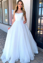 White tulle sequins long prom dress formal dress