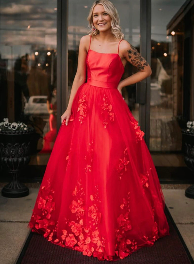 Stylish red satin long prom dress party dress