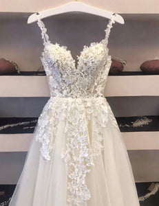 White tulle lace long ball gown dress evening dress
