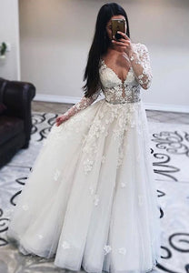 White tulle lace long prom dress formal dress