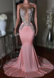 Pink mermaid beads prom dress mermaid evening dress