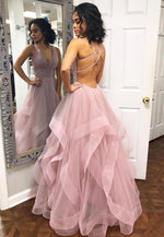 Pink v neck tulle long prom dress formal dress