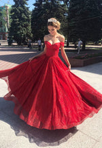 Red Off shoulder sequins long prom dress party dress