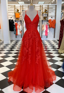 Red v neck tulle lace long prom dress formal gown