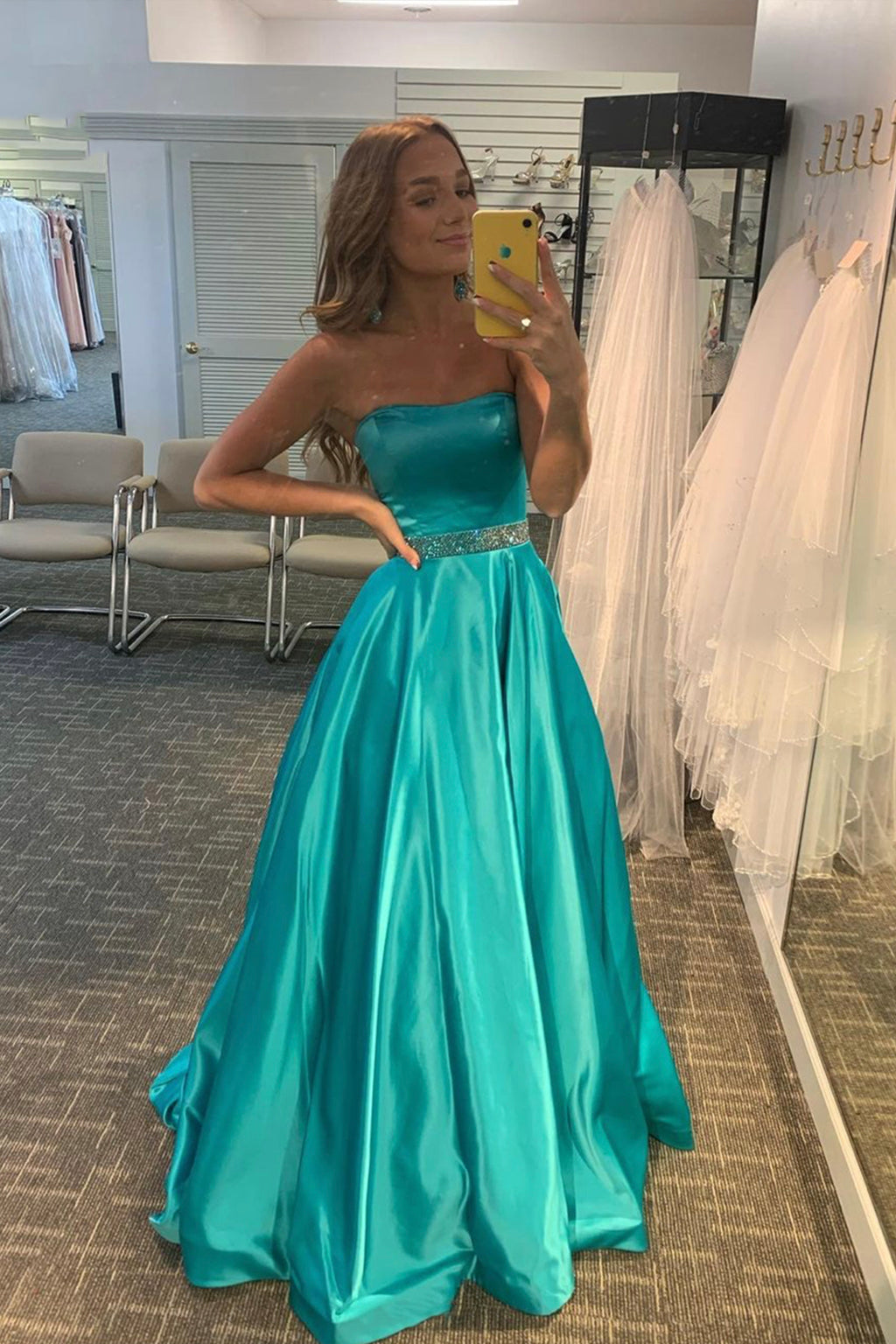 Stylish satin long A line prom dress evening dress