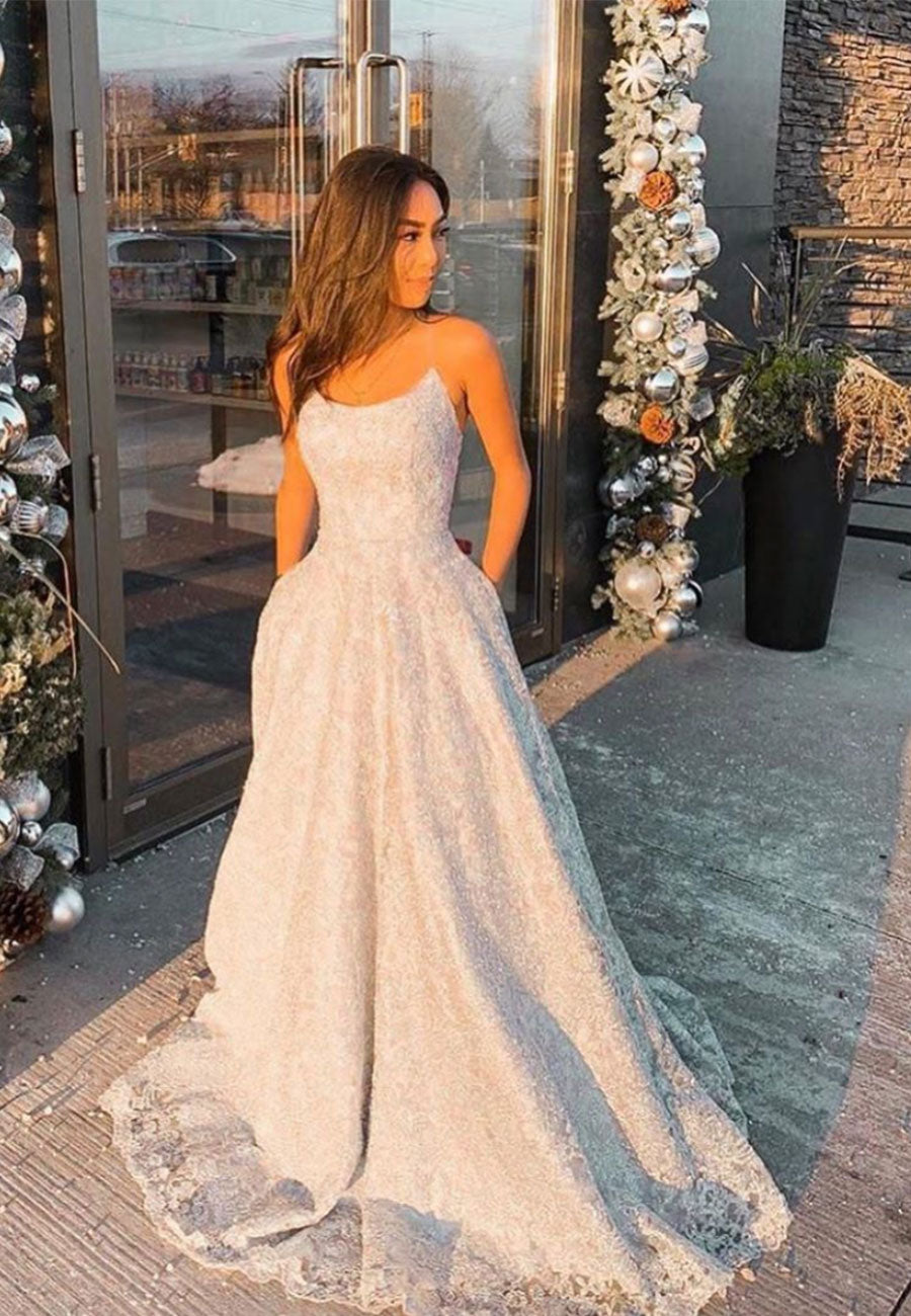 Simple lace long a line prom dress evening dress