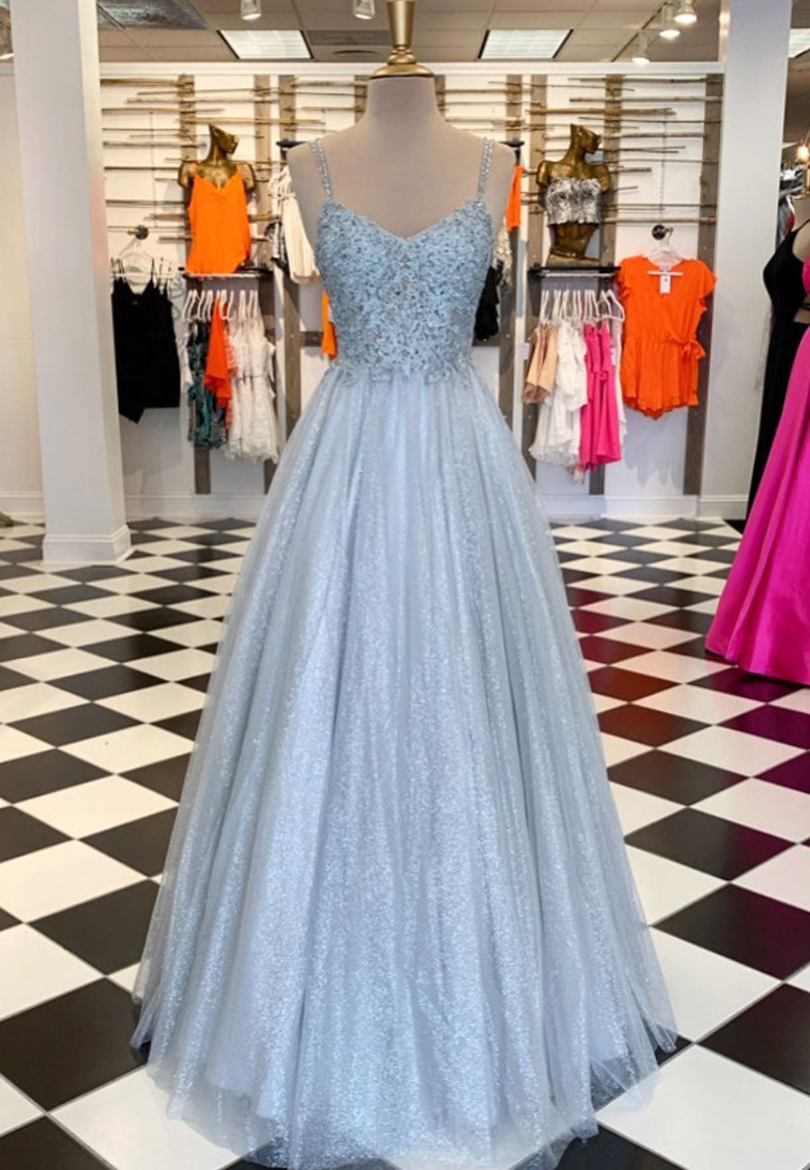 Gray lace sequins long prom dress evening dress