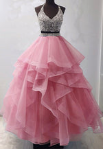 Two pieces tulle beads long prom gown evening dress
