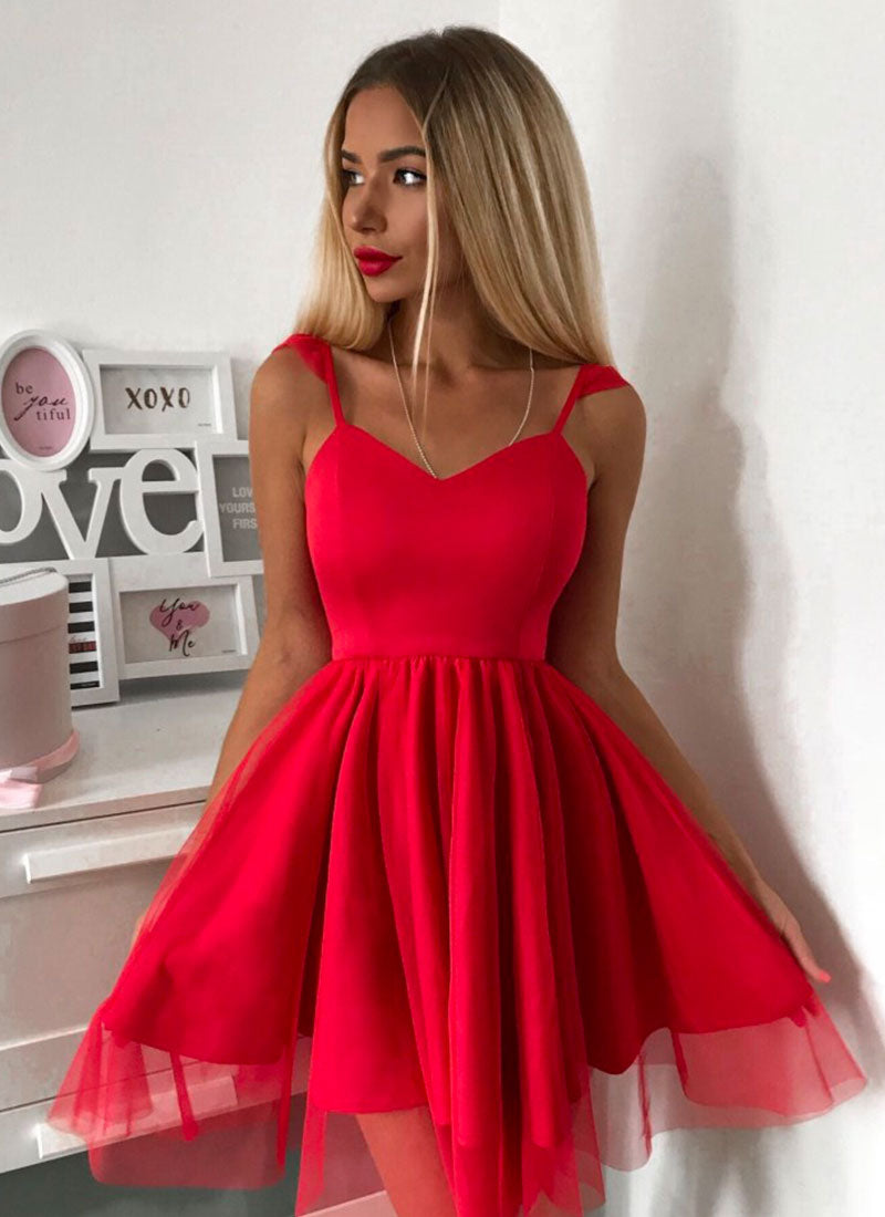 Red short prom dress, red homecoming dress
