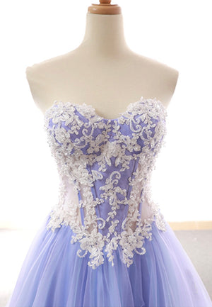 Purple tulle lace long prom dress evening dress