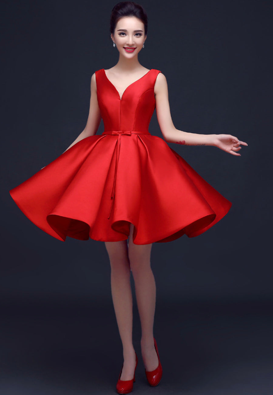 Red satin short prom dress homecoming dress