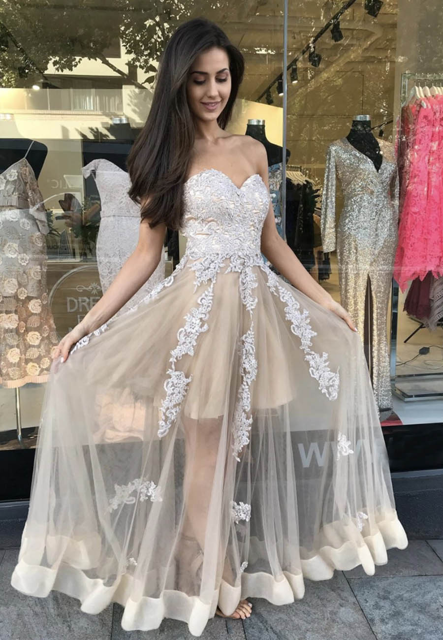 Stylish tulle lace prom dress evening dress