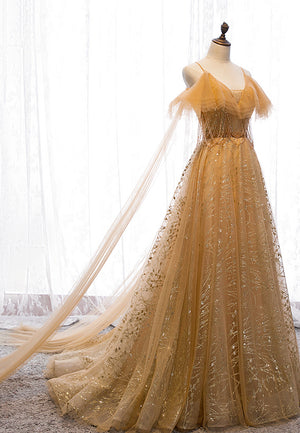 Gold v neck tulle sequins long ball gown dress