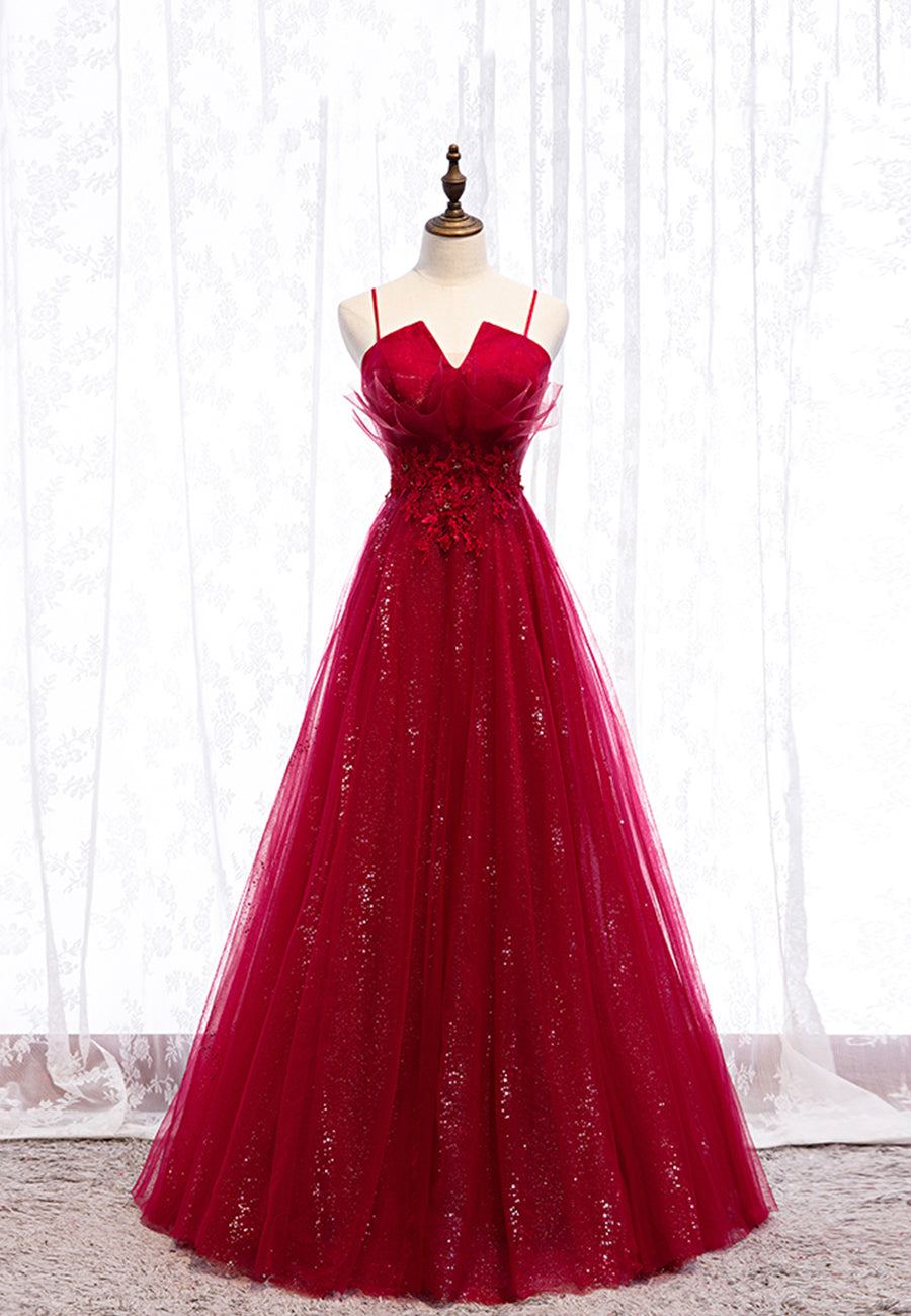 Burgundy lace sequins long prom dress evening dress
