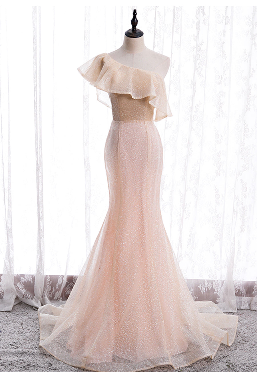 Mermaid tulle one shoulder prom dress evening dress
