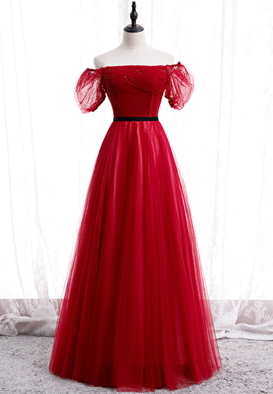 Burgundy tulle long prom dress evening dress