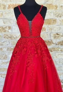 Red v neck tulle long prom dress lace evening dress
