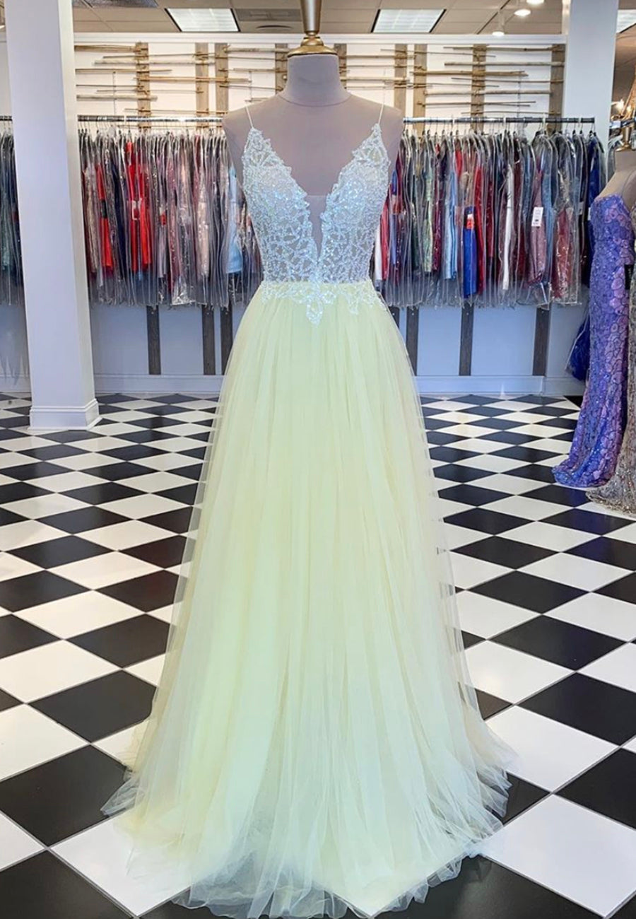 Yellow tulle sequins long prom dress formal dress