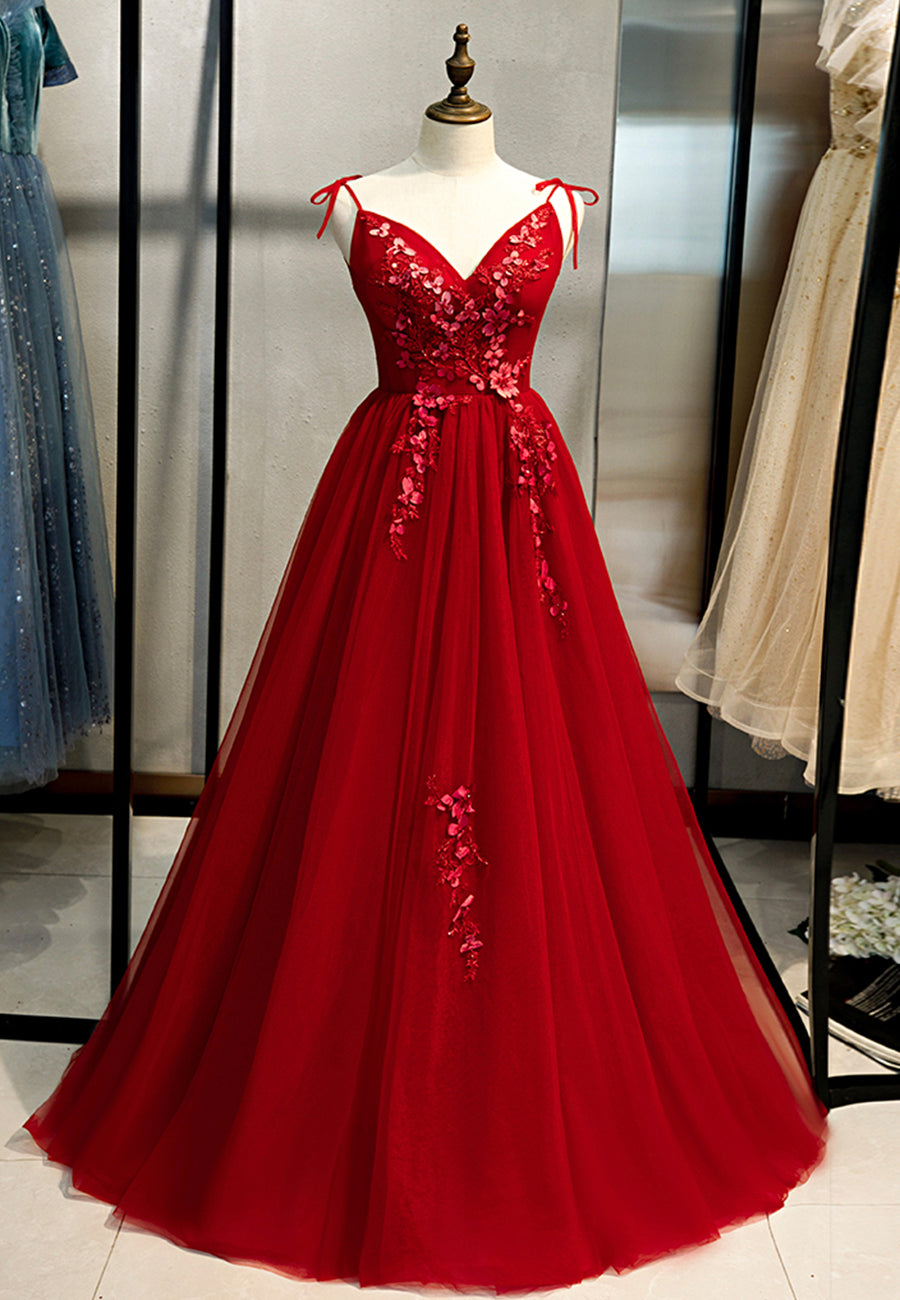 Red tulle lace long ball gown dress evening dress