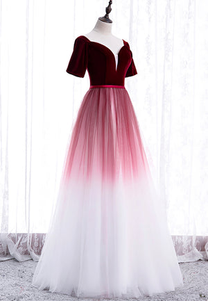 Burgundy velvet tulle long prom dress evening dress
