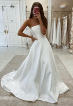 Simple satin long pro dress white evening dress