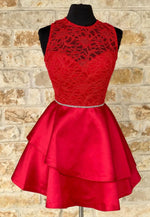 Red satin lace short prom dress homecoming dress