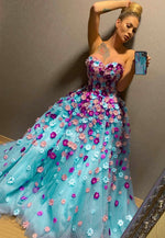 Stylish tulle appliqué prom dress formal dress