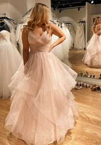 A line v neck tulle long prom gown evening dress