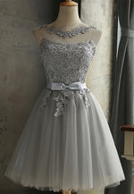 Gray lace short prom dress lace evening dress