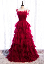 Stylish tulle long A line prom dress evening dress
