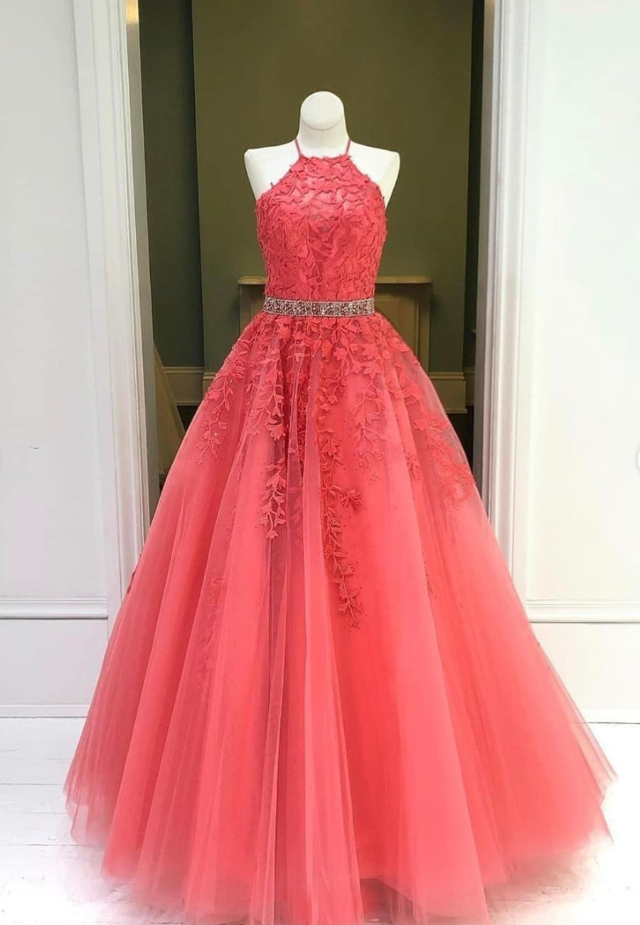 Red lace long prom dress red evening dress