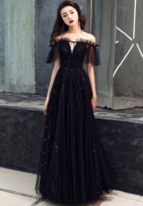 Black tulle long prom dress black evening dress