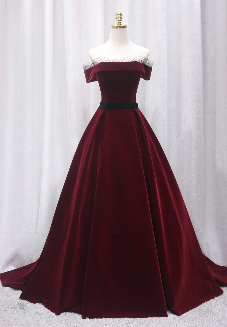 Burgundy velvet long prom gown formal dress