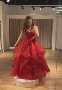 Burgundy tulle long A line prom gown formal dress