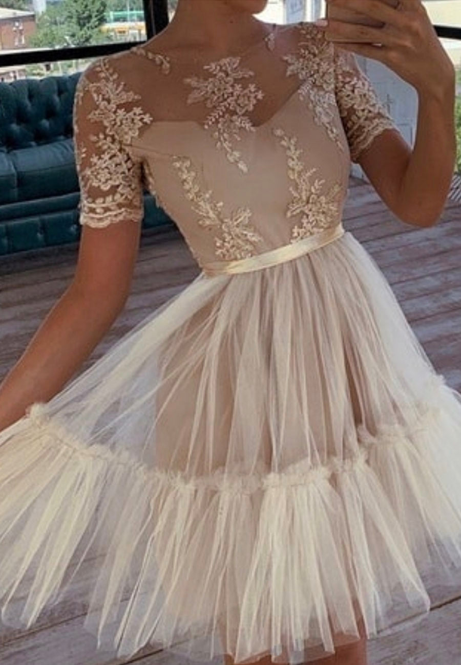 Cute tulle lace A line prom dress homecoming dress