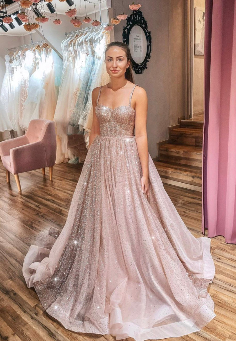 Stylish tulle sequins long A line ball gown dress