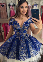 Blue lace short prom dress homecoming dress