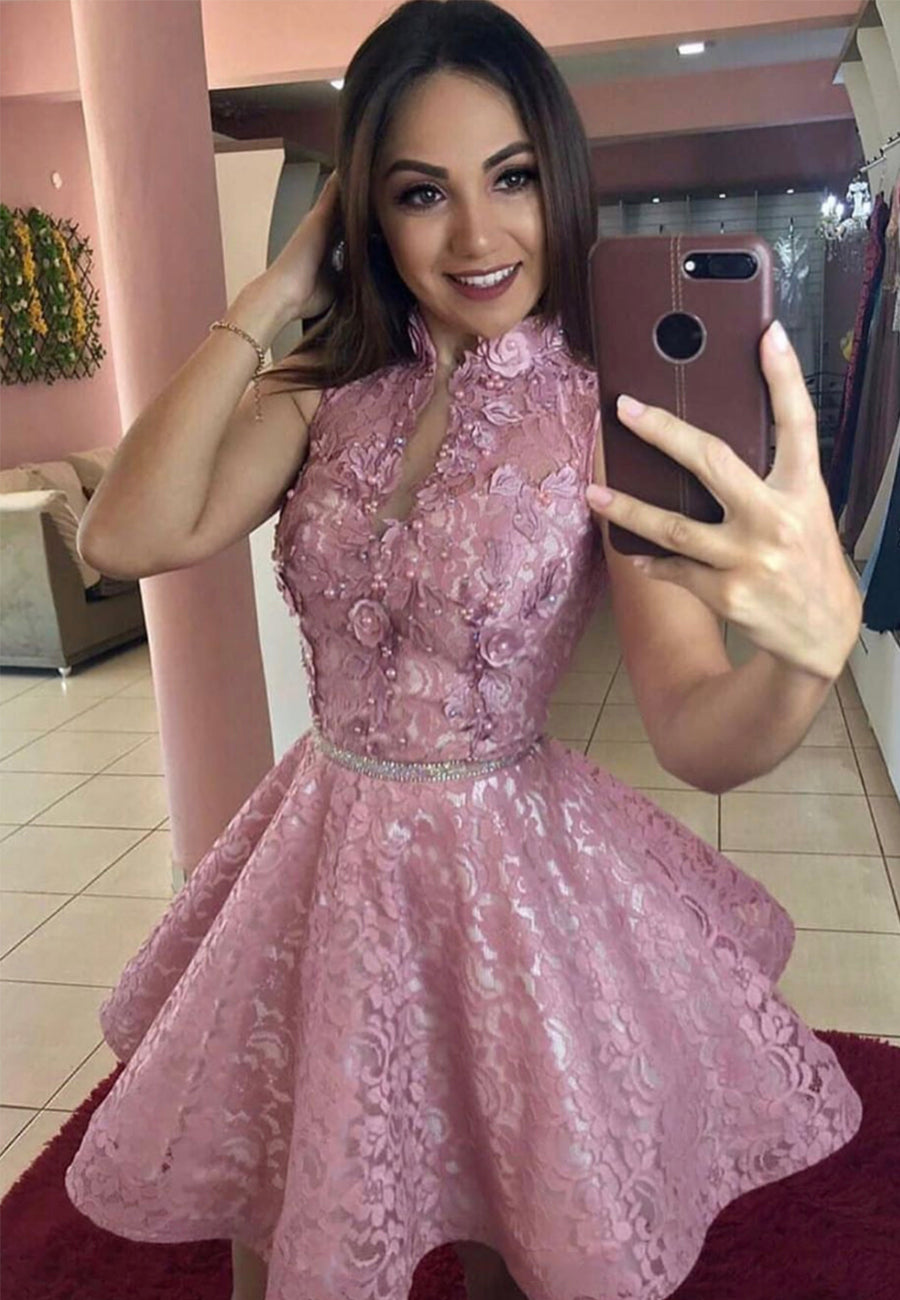 Pink lace short prom dress homecoming dress