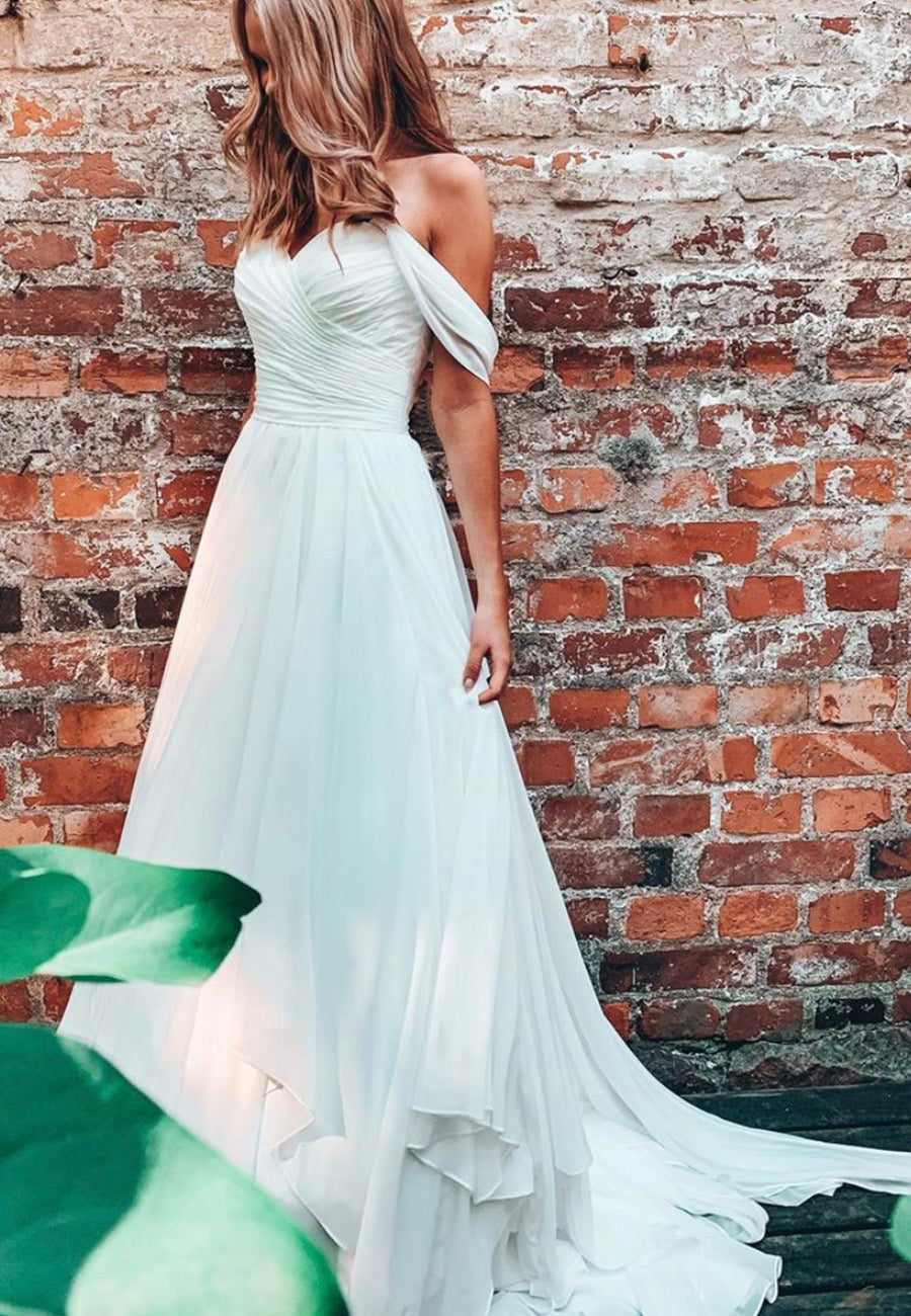 White chiffon long prom dress white evening dress